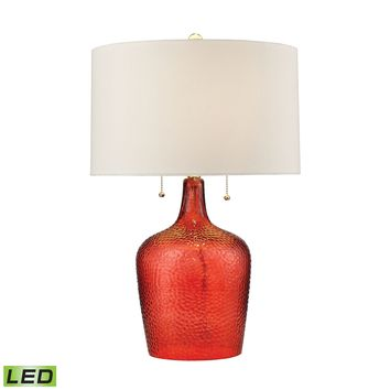D2690-LED Hatteras Hammered Glass LED Table Lamp in Blood Orange - Free Shipping!