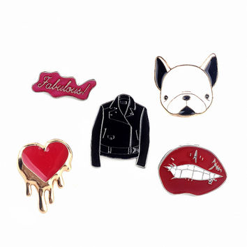 1 PCS Free Shipping Lovely Dog Clothes Shaped Brooch Lips Shaped Pin Brooches Metal Decoration Badges