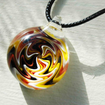 Boro Glass Pendant Lampwork Glass Necklace Wig Wag Implosion Boro Glass Bead Collection Borosilicate Switchback Pendants