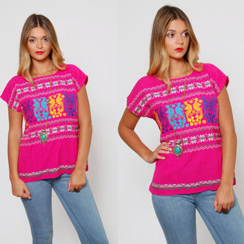 Vintage 80s MEXICAN Shirt Ethnic RAINBOW Tunic Pink EMBROIDERED Hippie Top Guatemalan Top