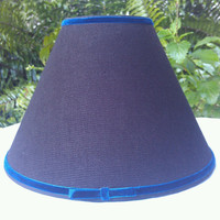 Black Lampshade Gold Interior Empire Shape Black Warsa Linen Royal Navy Blue Velvet Trim Black Grosgrain Ribbon Brass Clip Top Table Lamp