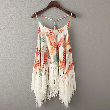 Summer Tassel Crop Tops Halter Irregular Camisole Feather Pattern Print Tank Top = 4768986628