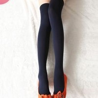 AM Landen Ladies' Thigh High Opaque Socks Small(US Size 2-4), Navy Blue