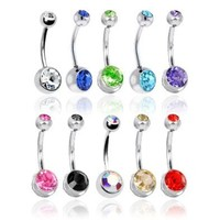 Lot of 10 Double Gem Belly Rings 14G