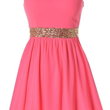 Malibu Breeze Dress | Hot Pink Gold Sequin Babydoll Dresses | RicketyRack.com