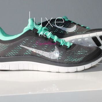 NIKE run free 3.0 V5 running shoes w/Swarovski Crystals detail - Dark Charcoal/Green G