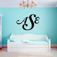 Personalized Initial Monogram Name #4 Girls Nursery Room Vinyl Wall Decal Graphics Bedroom Home Decor