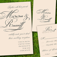 DIY Printable - Victorian Classic Formal Ivory Grey Customizable Wedding Invitation and RSVP Card Suite