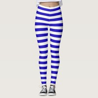 Marine stripes pattern medium stripes blue & white leggings