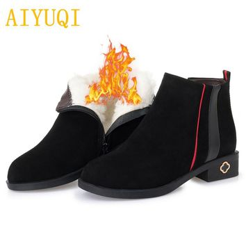 CHELSEA AIYUQI Winter women's Chelsea Genuine Leather Suede Ankle Boots Wool Lined for Winter
