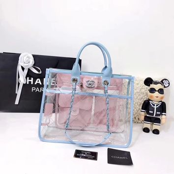 """""""CHANEL"""" new transparent large portable shopping bag"""