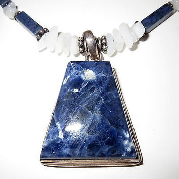 Sterling Silver Sodalite Pendant Necklace 925 Handmade Signed
