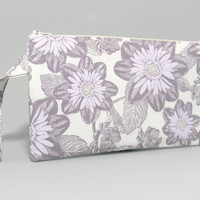Clutch Purse - Lavender Flowers on Ivory - Purple Satin - MakeUp Bag