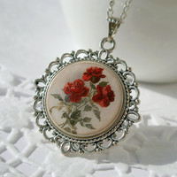 Gentle Vintage Rose Flowers,Necklace Polymer Clay
