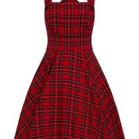 Hell Bunny Irvine Red Royal Stewart Tartan Vintage Retro Pinafore Dress