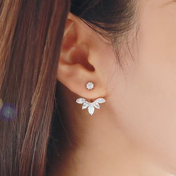 Crystal Leaf Silver Plated Earring Jackets