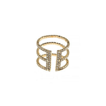 TRIPLE ROW CAGED CRYSTAL CUFF RING
