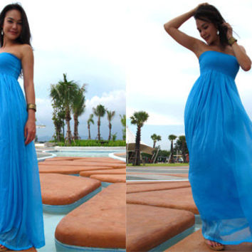 Blue Silk chiffon long maxi dress fits S M L XL