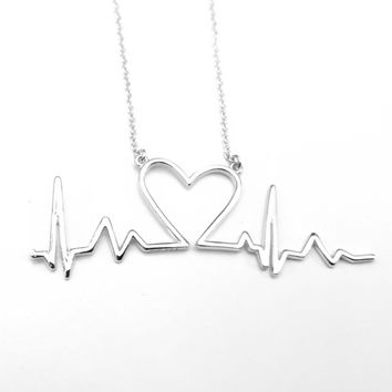 Heartbeat Necklace, Heart Necklace, EKG Line, Love Necklace, Sterling Silver Heart Necklace, Sterling Silver Jewelry