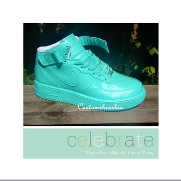 Custom Tiffany Blue Mid Top Nike Air Force Ones