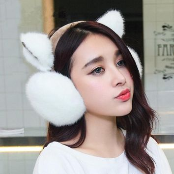 2017 New Fashion Rabbit Winter Earmuffs For Women Warm Fur Earmuffs Winter Warm Ear Warmers Gifts For Girls Female