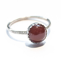 Handmade Carnelian ring, sterling silver, stacking ring