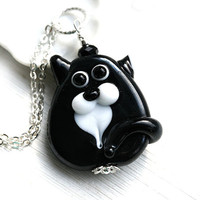 Black Cat Pendant, Black and white cat, black Kitten, Cat Jewelry, Lampwork glass Cat, Adoptable, Cat lover gift, Pet Adoption, Cat lady