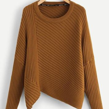 Rib Knit Asymmetrical Hem Sweater