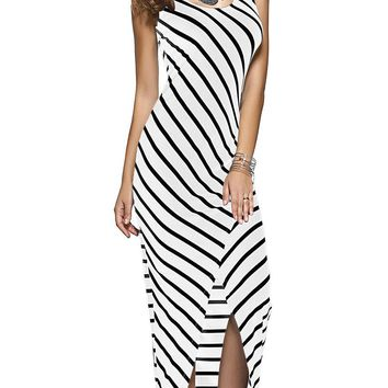 Women Black White Striped Boho Maxi Dresses 2016 Summer Style Sleeveless Beach Sexy Ladies Casual Long Dress Vestidos Plus Size