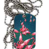 Bright Pink Painted Flamingos Adult Dog Tag Chain Necklace