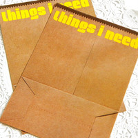 Vintage Hallmark Stationery. Memo Sheets. To Do List. Shopping List. Planner Paper. Filofax. Kraft Brown. Lunch Paper Bag. Journal Paper.