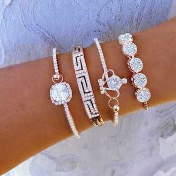CZ Crown Bracelet Set