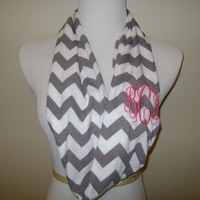 Monogrammed Infinity scarf - grey and white chevron knit / zig zag