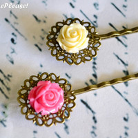 Flower Hair Pins Set Vintage Rose Bobby Pins Set  Pink Ivory Bobby Pins Flower Girl Hair Pins