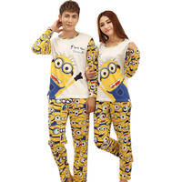 GOPLUS 2016 Autumn Long-sleeve Cartoon Lovers Home Clothing Couples Matching Pajamas Adult Minion Pajamas Sets Lovers sleepwear