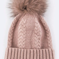 Raccoon Fur PomPom Winter Beanie Hat in Cashmere - Exclusive in Pale Pink!