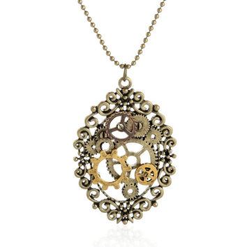 Vintage Steampunk Gear Pendant Necklace (Size: 69 cm, Color: Antique bronze) = 1945941828