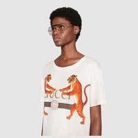 Gucci - Gucci logo with tigers t-shirt