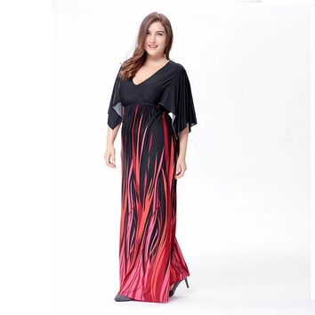 Fit and Flare Bat Sleeve V Collar Sexy Long Maxi Dress Plus Size 5XL 6XL