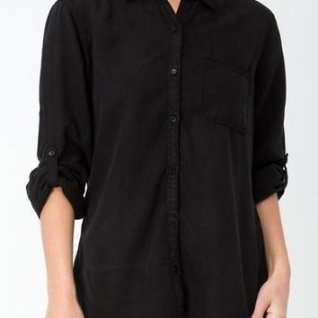 Maggie Tencel Button Up in Black