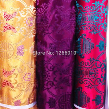 chinese silk brocade  fabric cheongsam cushion fish Tapestry satin