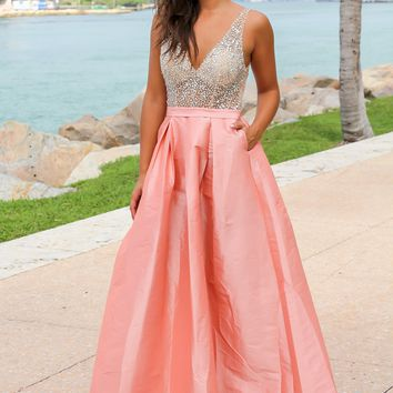 Blush Jeweled Maxi Dress