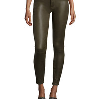 High Waist Ankle Skinny Crackle Leather-Like Jeans, Hunter Green