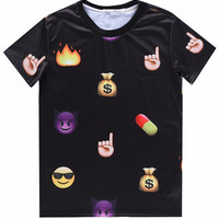 Black 3D Emoji Finger Print Short Sleeve Graphic T-shirt