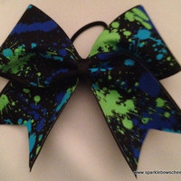 Paint Ball with Blue Cheer Hair Bow Cheerleading