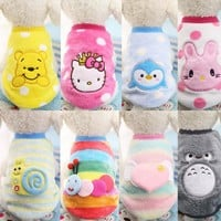 2016 New Stylt Cartoon Small Dog Clothes Pet Supplies Soft Fleece Winter Warm Cup Dog Vests New Born Puppy Clothing