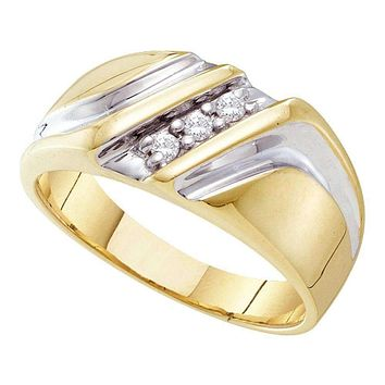 10kt Yellow Two-tone Gold Men's Round Diamond Wedding Anniversary Band Ring 1/10 Cttw - FREE Shipping (US/CAN)