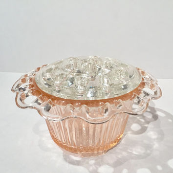 Pink Depression Glass Flower Frog Planter, Anchor Hocking Pink Lace Edge Old Colony