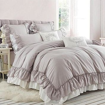 New khaki graceful bedding set handmade big ruffle duvet cover elegant bedding satin drill cotton bed skirt clothes bedspread