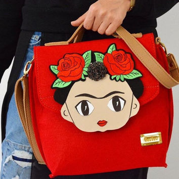 Messenger bag frida kahlo figure